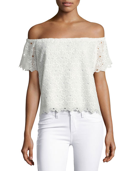 Amanda Uprichard Firenze Lace Off-the-Shoulder Top, White and