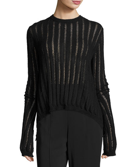 Miguel Semisheer Laced Sweater, Black