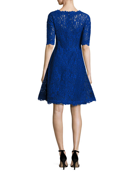 Image 3 of 3: Floral Lace Fit-and-Flare Cocktail Dress, Royal