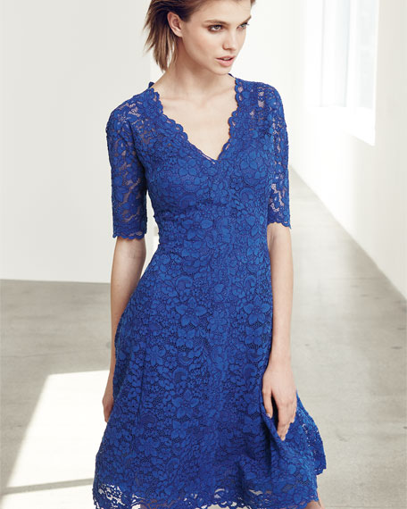Image 2 of 3: Floral Lace Fit-and-Flare Cocktail Dress, Royal