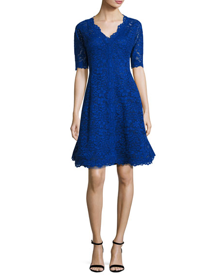 Image 1 of 3: Floral Lace Fit-and-Flare Cocktail Dress, Royal