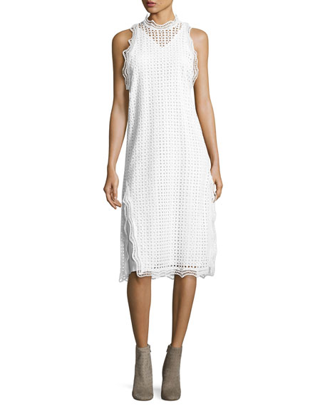 Iro Vicki Sleeveless Eyelet Midi Dress, White and