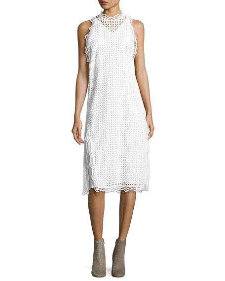 Iro Vicki Sleeveless Eyelet Midi Dress, White