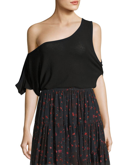 Iro Jonel Printed Asymmetric Chiffon Skirt, Black and