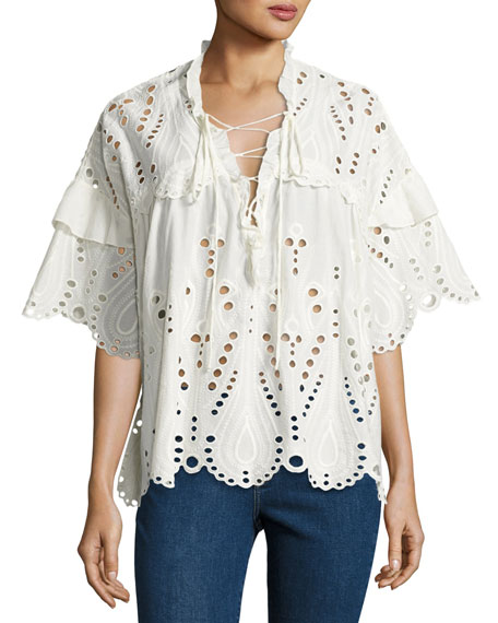 Iro Elyor Scalloped Eyelet Top & Jarod Cropped