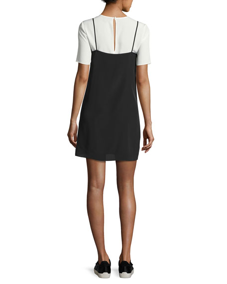 Kinney Short-Sleeve Slip Dress, Black/White