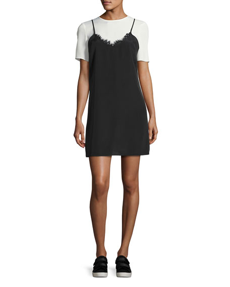 Kinney Short-Sleeve Slip Dress, Black/White