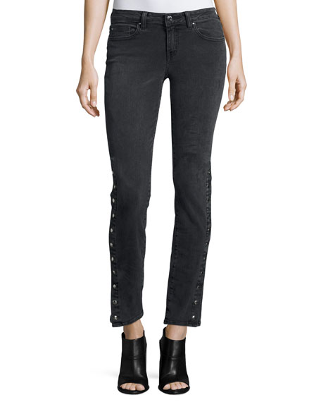 Iro Biba Side-Snap Skinny Jeans, Black