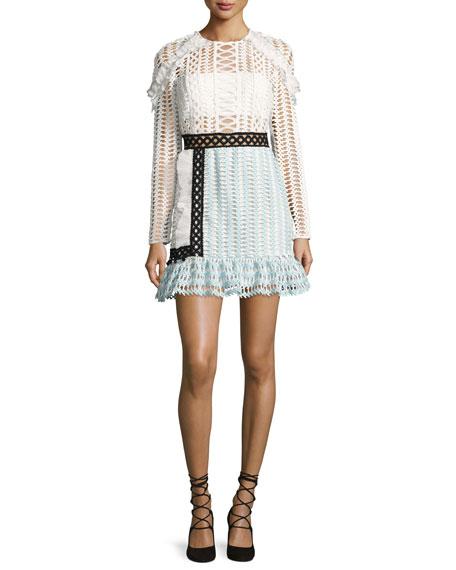 Self-Portrait Frill-Trim Paneled Lace Dress, White/Black/Baby Blue