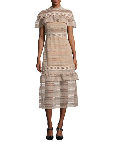 Frill-Yoke Lace Midi Dress, Nude