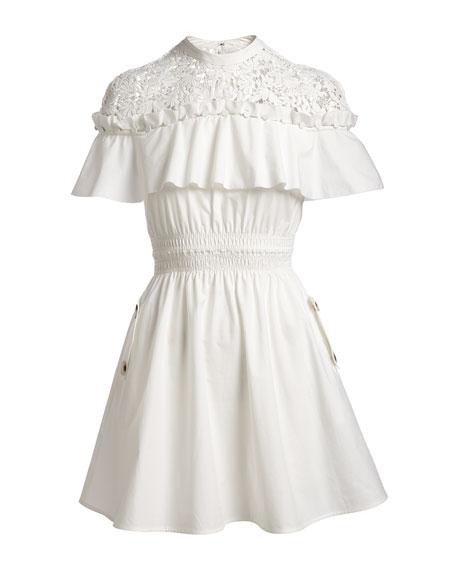 Self-Portrait Hudson Lace-Yoke Ruffle Mini Dress