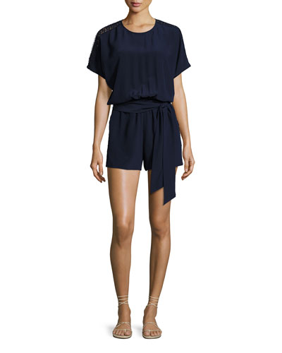 Lace-Trim Belted Silk Romper Coverup, Navy