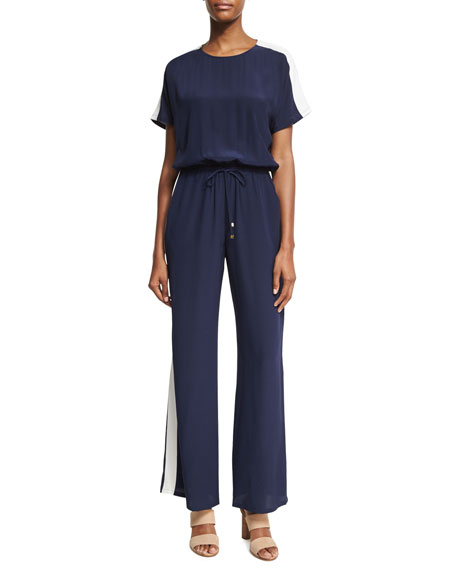 Tory Burch Colorblock Track-Stripe Silk Wide-Leg Jumpsuit, Blue