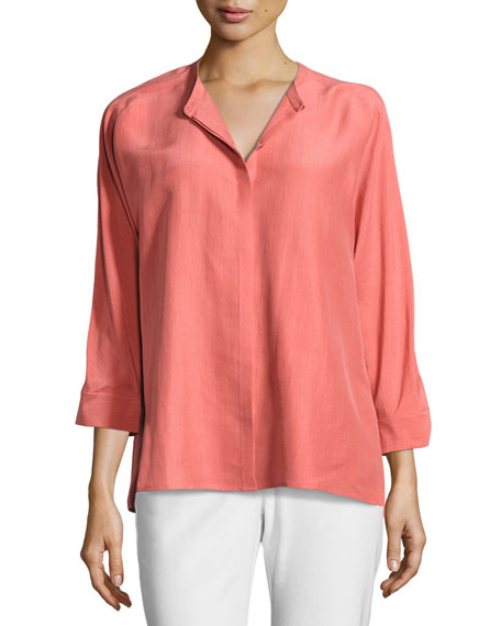 Eileen Fisher Mandarin-Collar 3/4-Sleeve Doupioni Blouse
