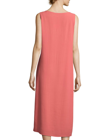 Silk Georgette Crepe Midi Tank Dress, Coral