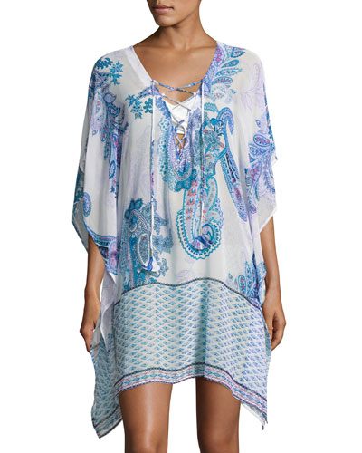 Paisley Leaves Lace Up Tunic, White