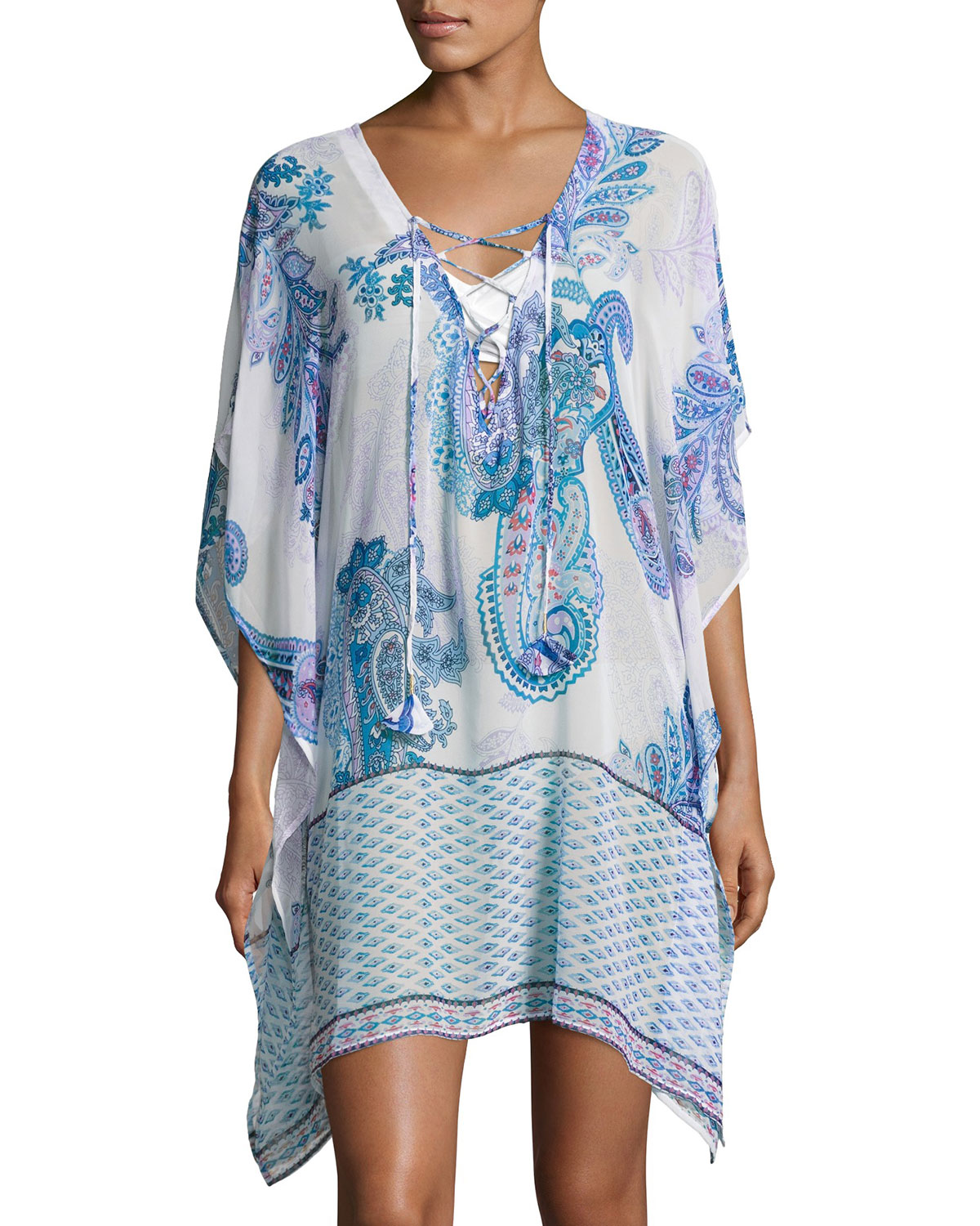 c44ca164a3 Tommy Bahama Paisley Leaves Lace Up Tunic, White   Neiman Marcus