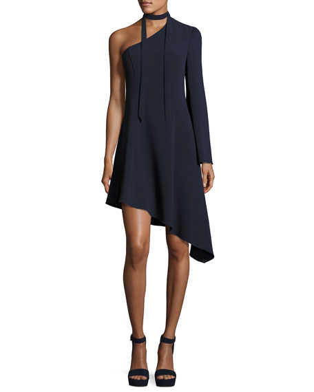 cinq a sept Kierra One-Shoulder Asymmetric Dress, Navy
