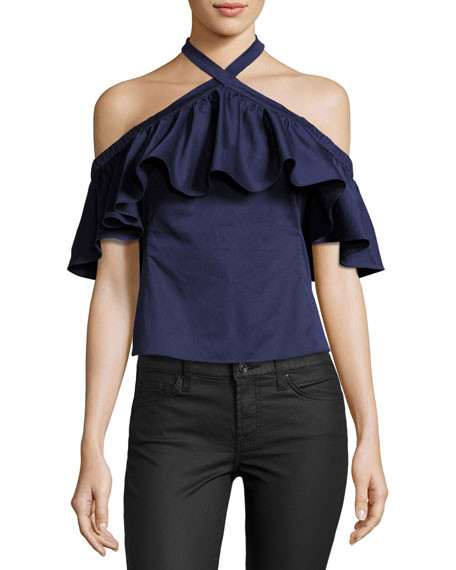 Rebecca Taylor Cold-Shoulder Halter-Neck Ruffle Top, Ink