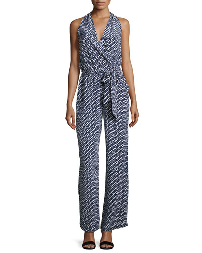 Nautical Dot Silk Jumpsuit