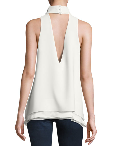 Envie Sleeveless Keyhole High-Neck Top, Ivory