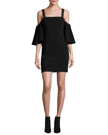 Monroe Cold-Shoulder Mini Dress, Black