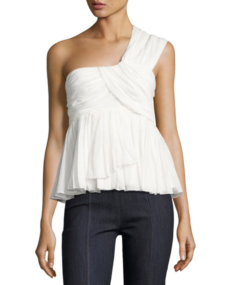 Draven Draped One-Shoulder Top, White