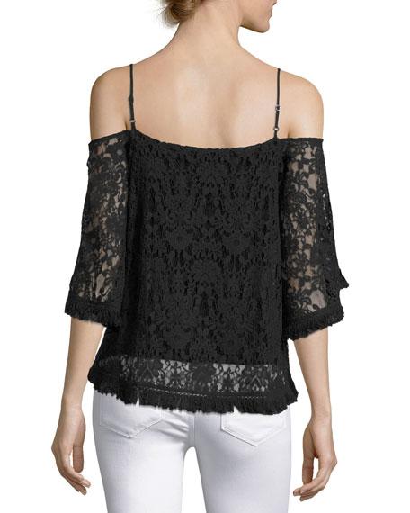 Tusk Lace Cold-Shoulder Top, Black