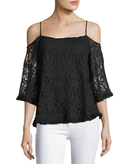 Bailey 44 Tusk Lace Cold-Shoulder Top, Black