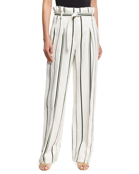 3.1 Phillip Lim Striped Belted Paperbag-Waist Pants, White