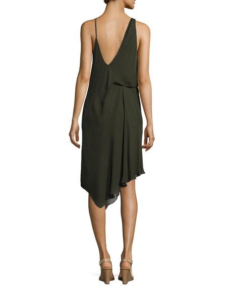 Roberta's Draped Silk Midi Dress, Olive