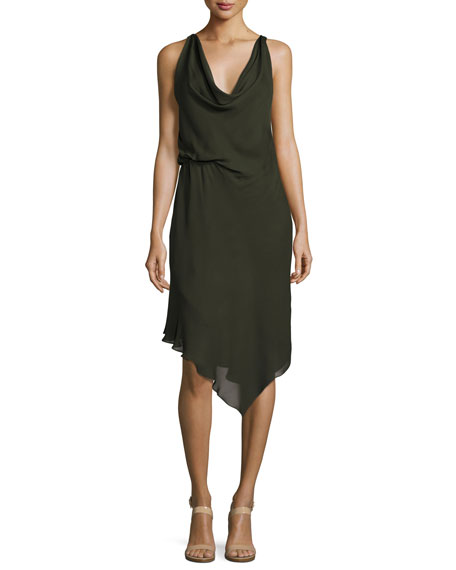 Haute Hippie Roberta's Draped Silk Midi Dress, Olive