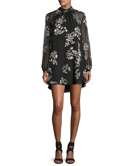Haute Hippie The Mentor Floral Mini Dress, Black