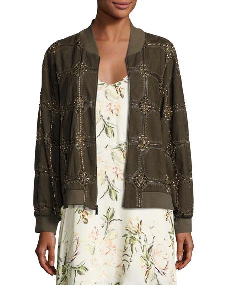 Haute Hippie Believe Embellished Bomber Jacket, Olive