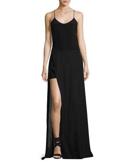 Shia Sleeveless Skirted Silk Jumpsuit, Black