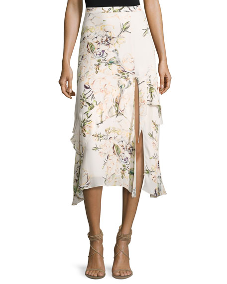 The Garden Floral Silk Midi Skirt, White