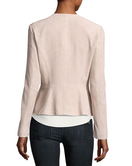 Zip-Front Suede Peplum Jacket, Blush