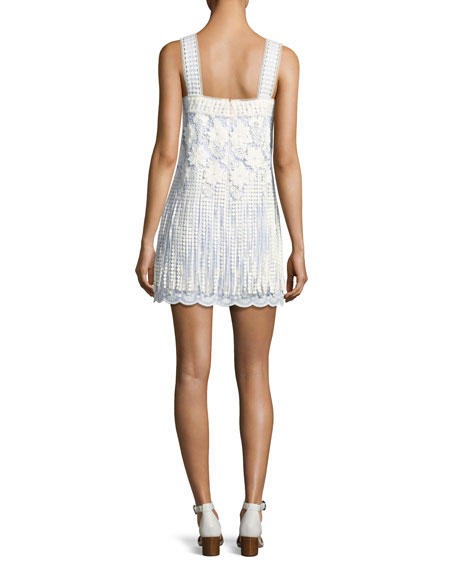 Fulton Sleeveless Fringe Lace Minidress, Baby Blue/White