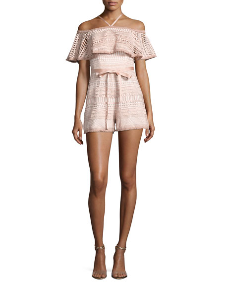 Alexis Araceli Off-the-Shoulder Lace Romper, White/Pink