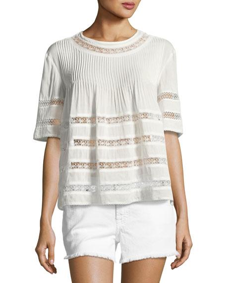 Alexis Eniko Short-Sleeve Pleated Top, White