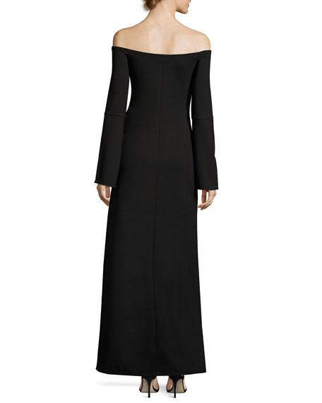 Katana Off-the-Shoulder Slit Maxi Dress, Black