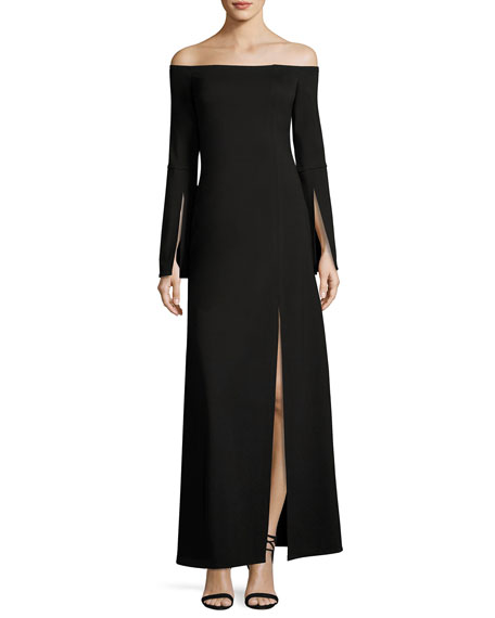 Alexis Katana Off-the-Shoulder Slit Maxi Dress, Black