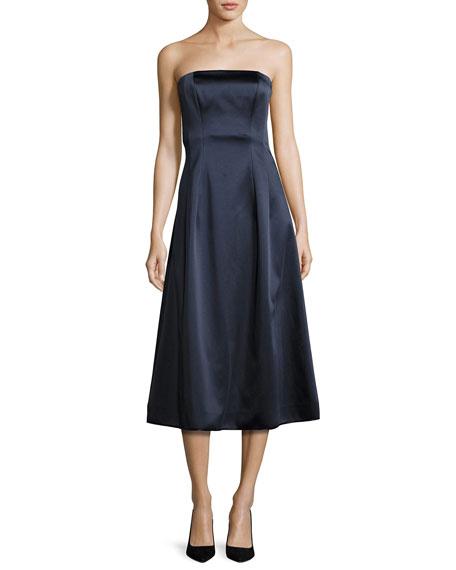 Diane von Furstenberg Satin Strapless A-Line Midi Gown,