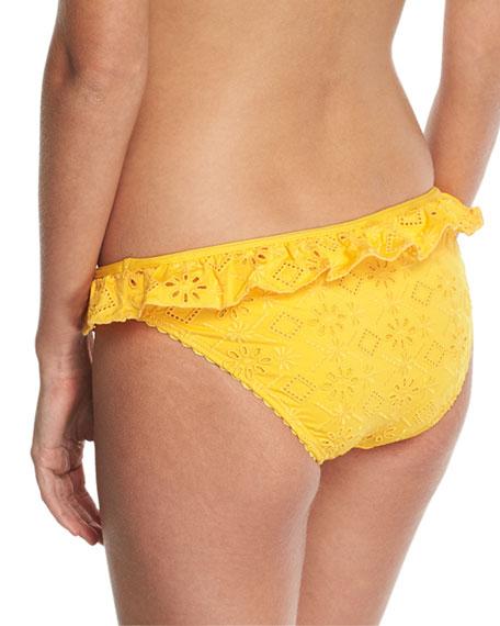 eyelet lace ruffle classic bikini bottom, yellow