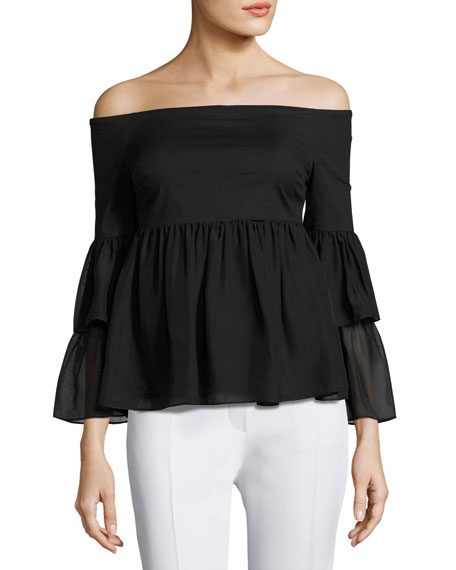 Rachel Zoe Charlotte Off-the-Shoulder Babydoll Top, Black