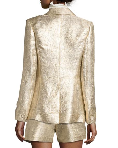 Rockefeller Metallic Single-Button Blazer, Gold