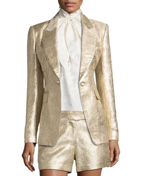 Rachel Zoe Rockefeller Metallic Single-Button Blazer, Gold