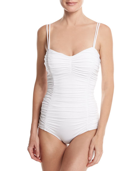Shirred Princess Seam Solid One-Piece Swimsuit
