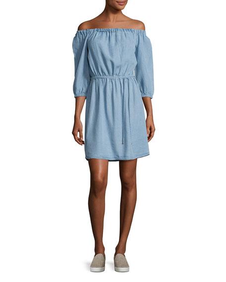 Chambray Off-the-Shoulder Dress, Light Blue