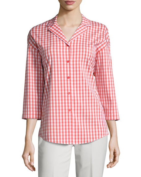 Lafayette 148 New York Analeigh 3/4-Sleeve Hampton Check